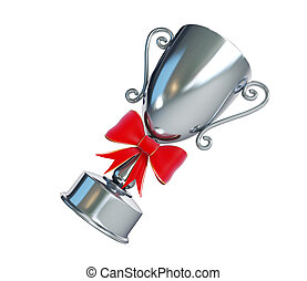 gift silver trophy cup 3d Illustrations on a white background