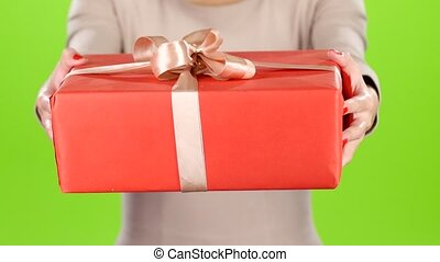 Gift. Specially for you. Big red carton with a bow - Gift...