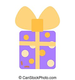 Gift square violet box in yellow polka dots with bow and yellow ribbon in flat style on a white background isolated. Gift promotion design, sticker for letter to customer, gift icon, birthday, holiday