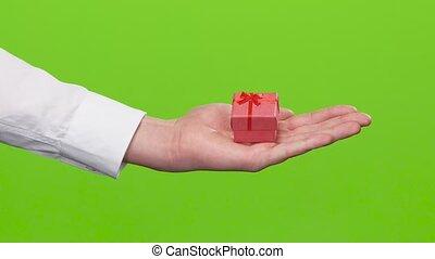 Gift surprise. Beautiful small gift box . Close up. Studio -...