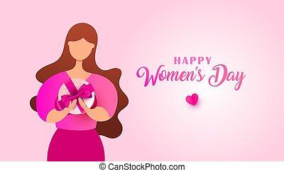 gift., surprise, femme, desig, boîte, jour, bannière, femmes, jeune, nof