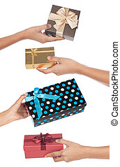 Four gifts being given back and forth isolated on a white background.