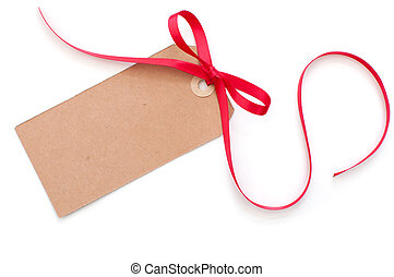 Blank gift tag with a red satin ribbon bow