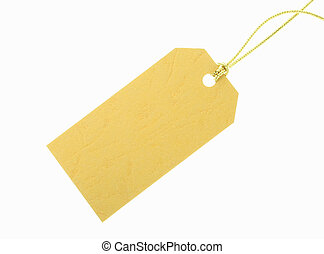 crossgrained yellow paper gift tag with visible texture on white background.