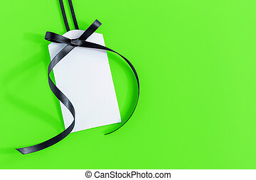 Gift tag on green background