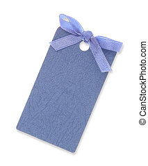 A blue blank gift tag tied with blue ribbon on white background. (Clipping Path included)