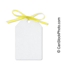 A blank gift tag tied with yellow ribbon on white background. (Clipping Path included)