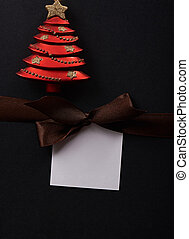 Gift tag with brown bow