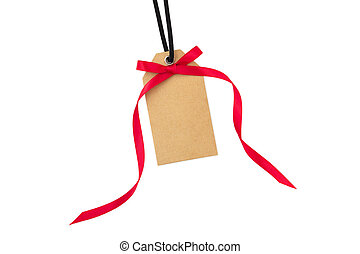Gift tag with red bow isolated on white