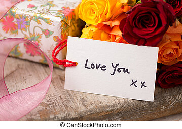 "Gift Tag with the text ""Love You"" Valentines"