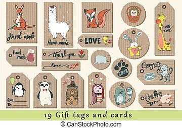 Gift tags, cards, labels and stickers with cute cartoon ...