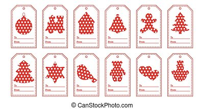 Gift tags with new year and christmas symbols with polka-dots and ribbon.