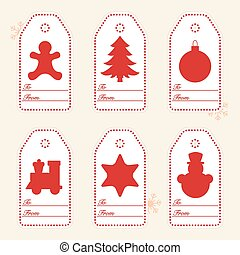 Gift tags with new year and christmas symbols with ribbon.