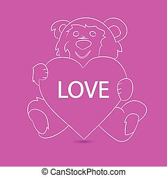 Gift teddy bear sitting and holding a heart, festive pattern on a pink background,