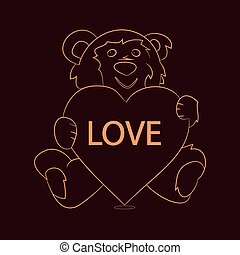 Gift teddy bear sitting and holding a heart, sparkling pattern on chocolate background,