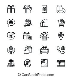 Gift thin icons