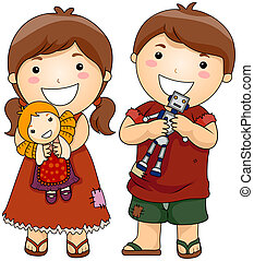 Unfortunate Children holding New Toys with Clipping Path