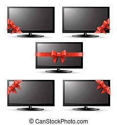 Gift tv with a red ribbon