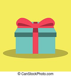 Gift vector icon on blue background