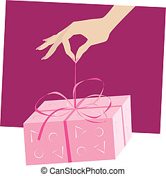 Vector illustration of a hand holding a gift