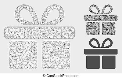 Gift Vector Mesh Wire Frame Model and Triangle Mosaic Icon -...