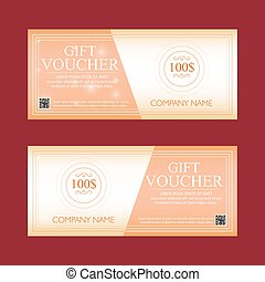gift voucher 100 dollars, special present, two text labels, vector
