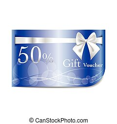 Gift Voucher blue card with ribbon and bow - Gift Voucher...