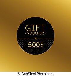 Gift voucher card over golden background. 500 dollars prize