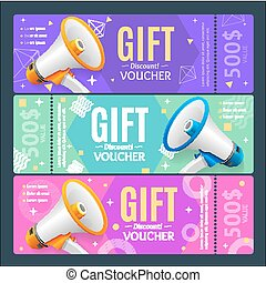 Gift Voucher Card Set Template Monetary Value Coupon. Vector