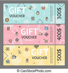Gift Voucher Card Set Template Monetary Value Coupon. Vector