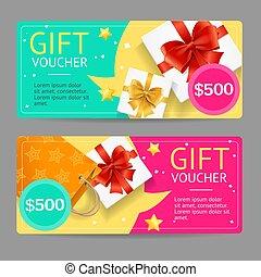 Gift Voucher Card Set. Vector