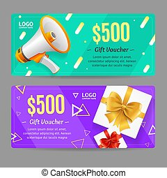 Gift Voucher Card Set. Vector