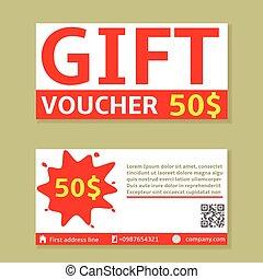 Gift voucher cards - Gift voucher 50 dollars cards, Vector...