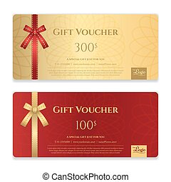 Gift voucher, certificate or discount card template for...