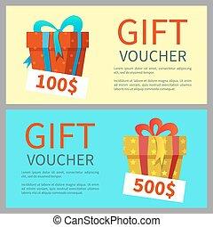 Gift voucher design. Gift boxes. Vector illustration