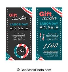 Gift voucher design Labor Day
