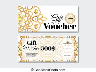 Gift voucher design templates with gold pattern.