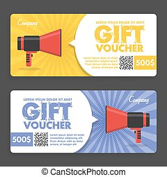 Gift Voucher. Flat Design. Announcement Of The Award. Vector...