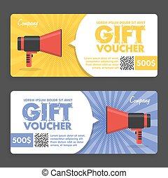 Gift Voucher. Flat Design. Announcement Of The Award. Vector...