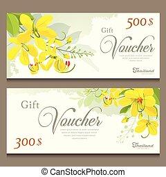 Gift voucher flower of Thailand, Cassia Fistula template...