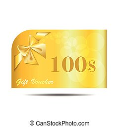 Gift Voucher gold card with ribbon and bow. vector...