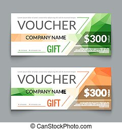 Gift voucher market offer template layout with colorful modern triangle business design. Certificate special discount buy coupon
