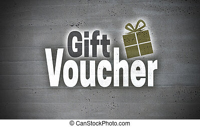 Gift Voucher on Concrete Wall Concept Background