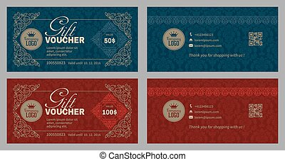 Gift Voucher Set - Gift Voucher Template in Luxury Style....