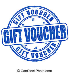 Gift voucher stamp - Gift voucher grunge rubber stamp on...