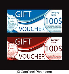Gift voucher template blue and red colors
