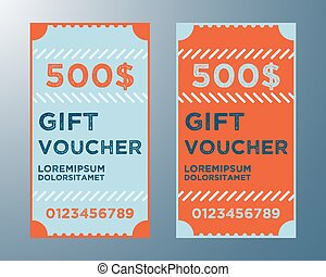 Gift voucher template. Two gift certificate layout. Vector...