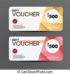 Gift voucher template. Coupon design. Vector illustration.