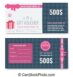 Gift voucher template design with ribbon