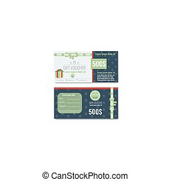 Gift voucher template design with trendy, modern outline pattern